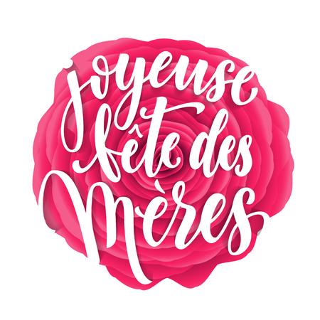 Joyeuse fete des meres. Mother Day Vektor-Grußkarte. Muttertag rosa rot Blumenmuster Hintergrund. Tag der Mutter von Hand gezeichnet Schriftzug Tapete