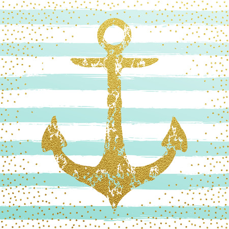Golden glitter anchor wallpaper. Blue stripes nautical design vector illustration. Nordic marine golden anchor concept.