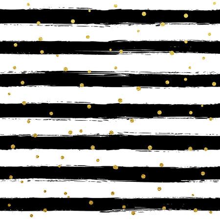 striped wallpaper: Glitter gold striped wallpaper. Paint brush strokes background. Black and white calligraphy stripes. Golden polka dot pattern. Hipster trendy vector illustration. Illustration