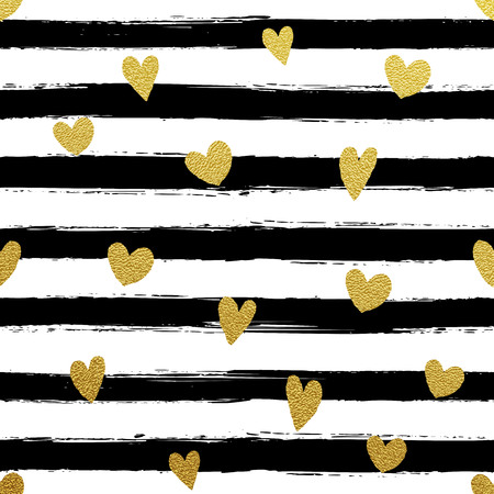 Glitter gold striped wallpaper. Paint brush strokes background. Black and white calligraphy stripes. Golden heart pattern. Hipster trendy vector illustration.