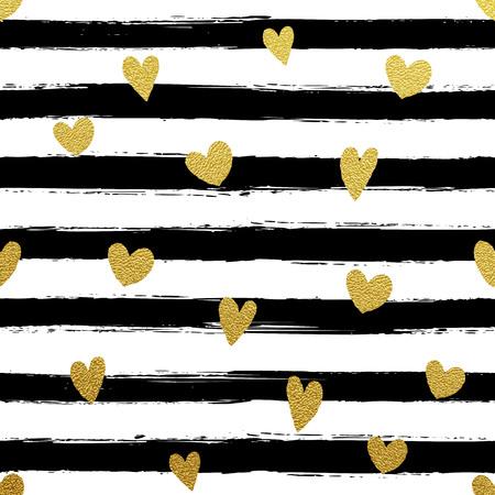 Glitter gold striped wallpaper. Paint brush strokes background. Black and white calligraphy stripes. Golden heart pattern. Hipster trendy vector illustration.