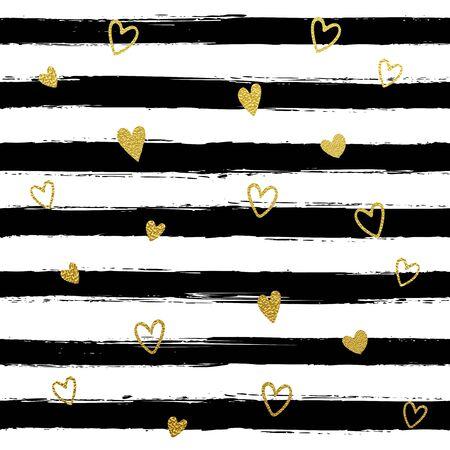 striped wallpaper: Glitter gold striped wallpaper. Paint brush strokes background. Black and white calligraphy stripes. Golden heart pattern. Hipster trendy vector illustration.