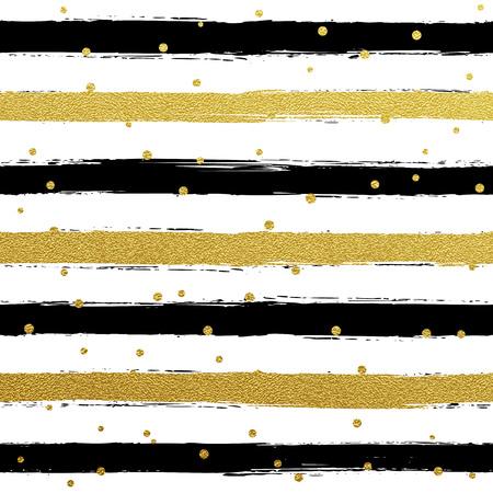 Glitter goud gestreept behang. Verf penseel streken achtergrond. Zwart en wit kalligrafie strepen. Gouden stippatroon. Hipster trendy vectorillustratie.
