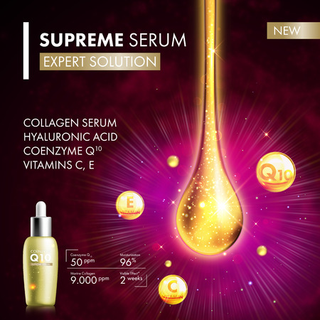 Coenzyme Q10 serum collagen essence gold drop. Skin care collagen hyaluronic moisture treatment. Golden drops design. Anti age coenzyme droplets solution. Package moisturizer cosmetics design. Illustration