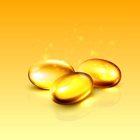 ácido: colágeno aceite dorado cápsula 3D. Concepto de producto de suplemento dietético de la cápsula sana. Vector píldora de vitaminas e ilustración de colágeno.