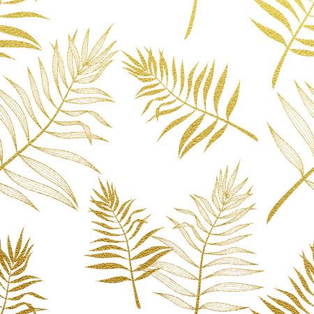 Hojas de palma patrón oro de transparente. Vector ilustración botánica. hoja de palma brillo del oro. Palma de la mano dibujado patrón de papel tapiz de fondo.