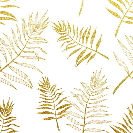 Palm leaves golden seamless pattern. Vector botanical illustration. Gold glitter palm leaf. Hand drawn palm pattern background wallpaper.