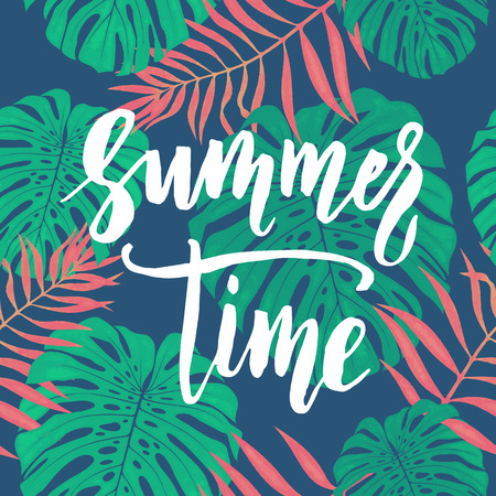 tropical leaves: Summer Time card with tropical leaves seamless pattern.