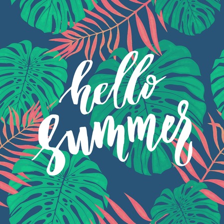 Hello Summer card with tropical leaves seamless pattern.