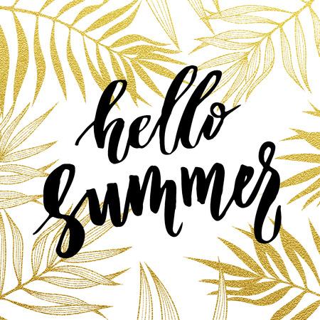 Bonjour carte d'été. feuilles tropicales or seamless pattern. Banque d'images - 57606374