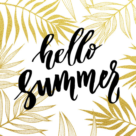 Hello Summer card. Gold tropical leaves seamless pattern.