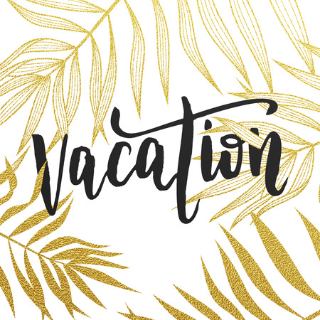 leaf pattern: Vacation card with tropical leaves seamless pattern. Hand drawn jungle line leaf pattern background wallpaper. Illustration