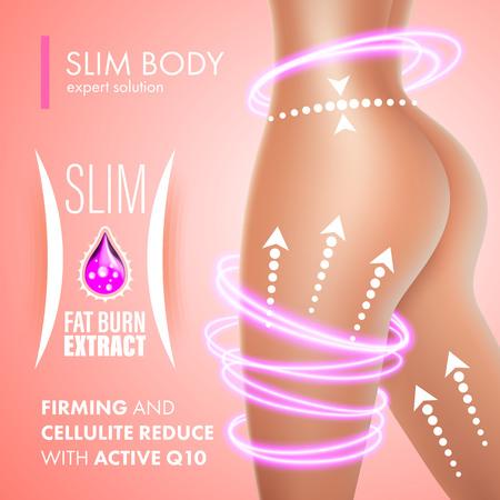 Cellulit pielęgnacja skóry projektowanie rozwiązaniem ujędrniający. Anti Cellulite Ekstrakt spalacz tłuszczu o smukłym ciele. Koenzym Q10 leczenie. Ilustracje wektorowe