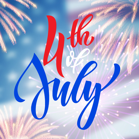 national holiday: 4 July USA fireworks greeting card. United States of America Independence Day national holiday card design. Festive background wallpaper.