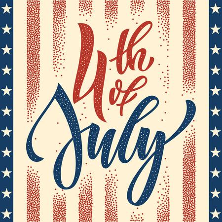 7 月 4 日のアメリカ独立記念日のグリーティング カード。7 月 4 日アメリカお祝い壁紙。独立国民の祝日米国旗はカード デザインです。
