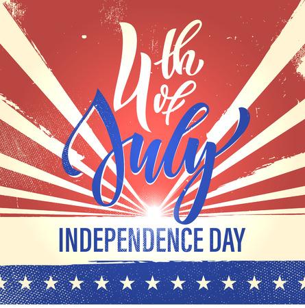 national holiday: Fourth of July USA Independence Day greeting card. 4 July America celebration wallpaper. Independence national holiday US flag card design. Illustration