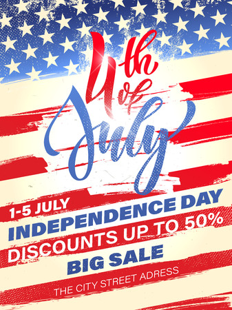Fourth of July USA Independence Day Grußkarte. 4. Juli Amerika Feier Tapete. Unabhängigkeit nationaler Feiertag US-Flagge Kartenentwurf.