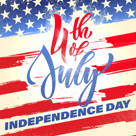 Fourth of July USA Independence Day greeting card. 4 July America celebration wallpaper. Independence national holiday US flag card design. Çizim