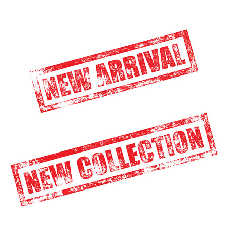 stamp collection: New Arrival stamp of red grunge square vintage rubber print. New Collection stamp. Red ink vector imprint.