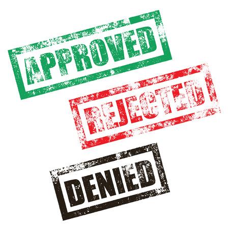 Approved stamp of green grunge square vintage rubber print. Rejected red stamp seal. Denied black ink vector imprint. Ilustração