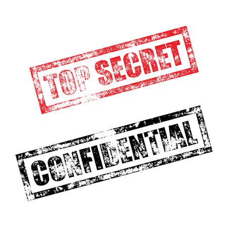 confidential: Top Secret stamp of red grunge square vintage rubber print. Confidential black stamp. File document seal ink vector imprint.