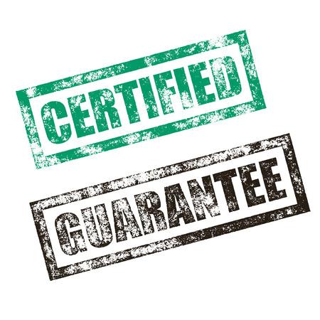 certified: Certified stamp of green grunge square vintage rubber print. Guarantee stamp seal. Black ink vector deal offer imprint.