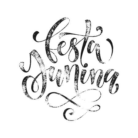 summer solstice: Festa Junina Midsummer greeting card in Portuguese. Festa de Sao Joao, St John, Summer solstice vector lettering in Brazilian. Festas Juninas hand drawn grunge calligraphy on white background.