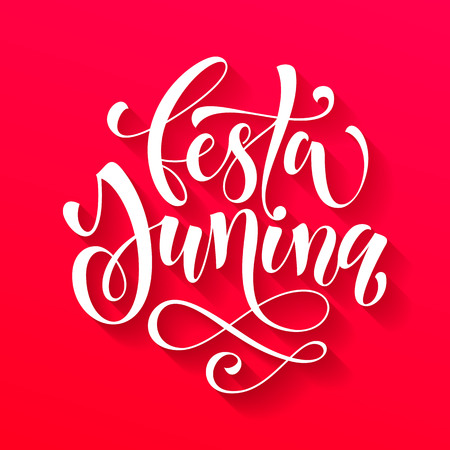 solstice: Festa Junina Midsummer greeting card in Portuguese. Festa de Sao Joao, St John, Summer solstice vector lettering in Brazilian. Festas Juninas hand drawn calligraphy on red background.