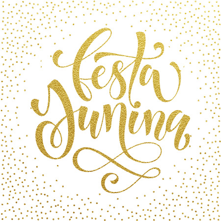 solstice: Festa junina Midsummer greeting card in Portuguese. Festa de Sao Joao, Summer solstice vector gold lettering in Brazilian. Festas Juninas hand drawn calligraphy. Golden polka dot glitter background.