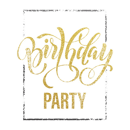 happy anniversary: Birthday Party gold glitter lettering for invitation card. Hand drawn grunge retro goden calligraphy on white background.