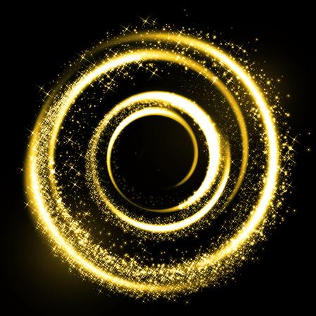 espiral: círculo mágico de oro rastro de luz. Resplandeciente rastro anillo de fuego. La chispa del brillo torbellino efecto de cola de luz sobre fondo negro. Spinning luces doradas brillantes trazan en túneles en espiral.