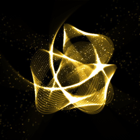 fractals: Abstract gold glittering wavy fractals. Golden glittering star dust abstract nebula in glowing space Stock Photo