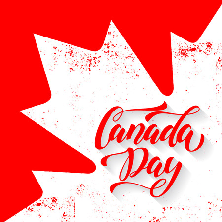 캐나다 하루 인사말 카드입니다. 흰색 메이플 리프 벡터 일러스트와 함께 캐나다 국기입니다. 해피 캐나다 서예 서예 그런 지 복고풍 배경 벽지에 레터 일러스트