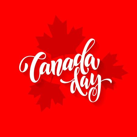Cartolina d'auguri del giorno di Canada. Canadese nazionale celebrazione flyer placard con pattern di foglia di acero stampa. Canada bandiera sfondo rosso sfondo.