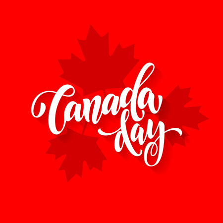 Canada Day greeting card poster. Canadian national celebration flyer placard with maple leaf print pattern. Canada flag red backround wallpaper.
