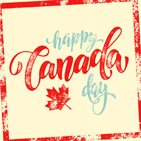 Happy canada day vector illustration greeting card canadian happy canada day vector illustration greeting card canadian flag poster with hand drawn calligraphy lettering m4hsunfo