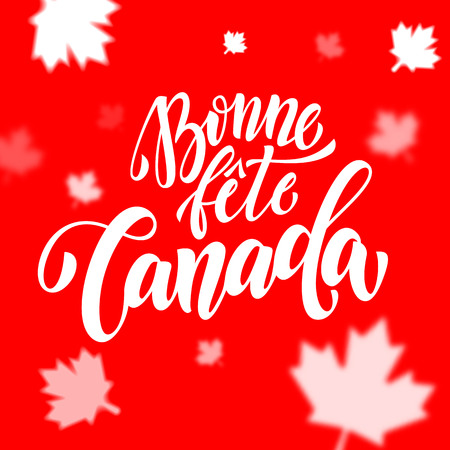 bonne: Bonne Fete du Canada in French. Happy Canada Day calligraphy greeting card. Maple leaf pattern vector illustration. Canadian flag red background wallpaper.