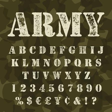 Militärische Schablone Alphabet gesetzt. Armee stencial Schriftzug mit Camouflage-Hintergrund. Vectro abc Groß mit Zeichen und Symbolen.