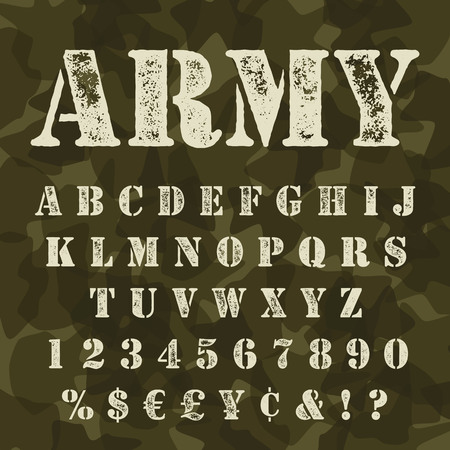 western script: Military stencil alphabet set. Army stencial lettering with camouflage background. Vectro abc uppercase with signs and symbols.