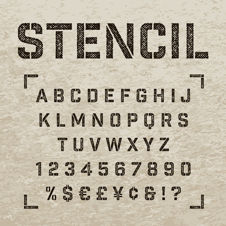 Stencil-plate alphabet with scratch imprint effect. Straight stencil letters, numbers and symbols. Stamp stencil textured letters for print design.
