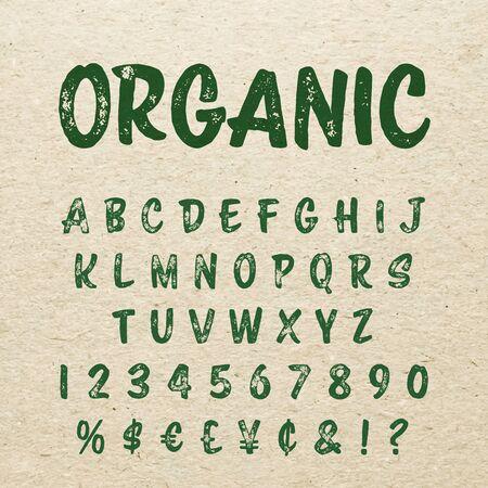 handwritten: Organic alphabet with imprint effect on carton backgound. Retro grunge marker lettering for natural organic packaging design. Stamp letterpress effect. Illustration
