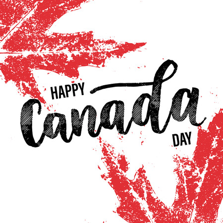 Happy Canada Day vector illustration greeting card. Canadian flag poster with hand drawn calligraphy lettering. Red maple leaf on white background wallpaper. 向量圖像