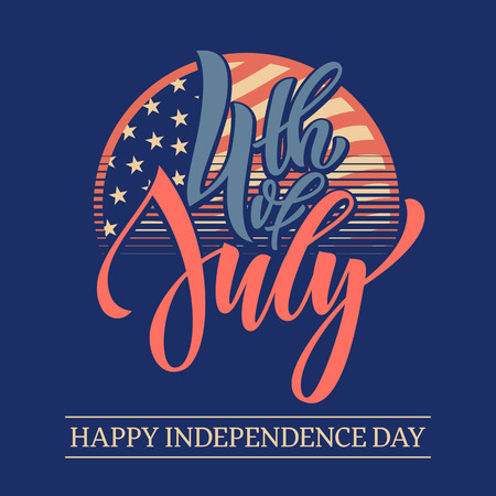 national holiday: Fourth of July USA Independence Day greeting card. 4 July America celebration wallpaper. National holiday US flag poster background for card design. Illustration