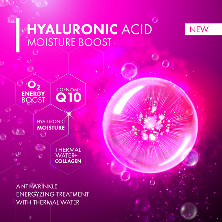 Hyaluronic Acid Moisture Boost. O2 collagen water molecula pink bubble drop. Skin care marine oxygen formula treatment design. Coenzyme anti wrinkle thermal water solution.