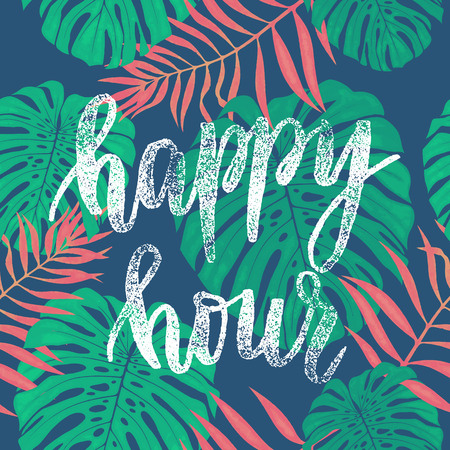 Happy Hour card with tropical leaves seamless pattern. Vector palm and monstera leaf botanical illustration. Hand drawn jungle liane leaf pattern background wallpaper. Illustration