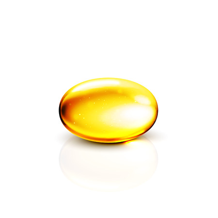 Gold oil collagen 3D capsule. Healthy dietary capsule supplement product concept. Golden vector vitamin e collagen pill illustration.  イラスト・ベクター素材