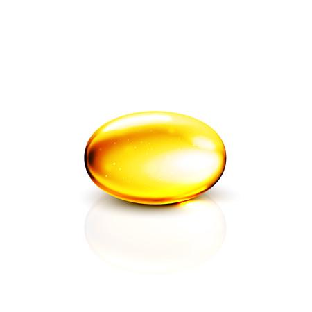 Or le collagène d'huile de capsule 3D. alimentaire concept de produit supplément capsule saine. Or vecteur vitamine e collagène pilule illustration.