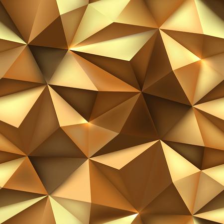 골드 배경입니다. 추상 뾰족한 삼각형 골드 질감입니다. 낮은 폴리 금 구겨진 패턴 벡터 일러스트 레이 션.