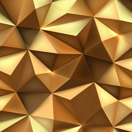 Gold background. Abstract spiky triangle gold texture. Low poly gold crumpled pattern vector illustration. Vettoriali