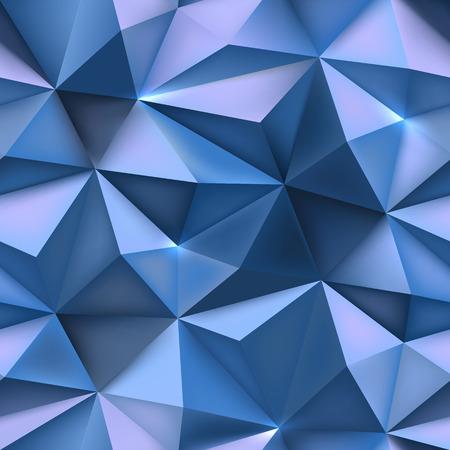 Blauwe achtergrond. Abstract driehoek wees prisma textuur. Low poly mesh verfrommeld patroon vector illustratie.